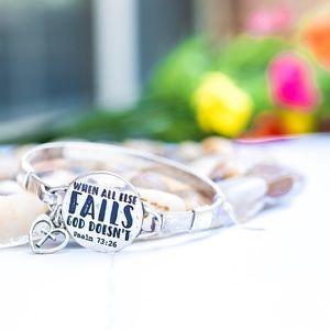 Jewelry - Silver Tone Faith Bangle Bracelet with Charm